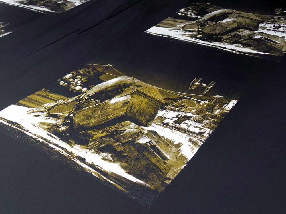 Walker Down - Gold and white screen print on black
