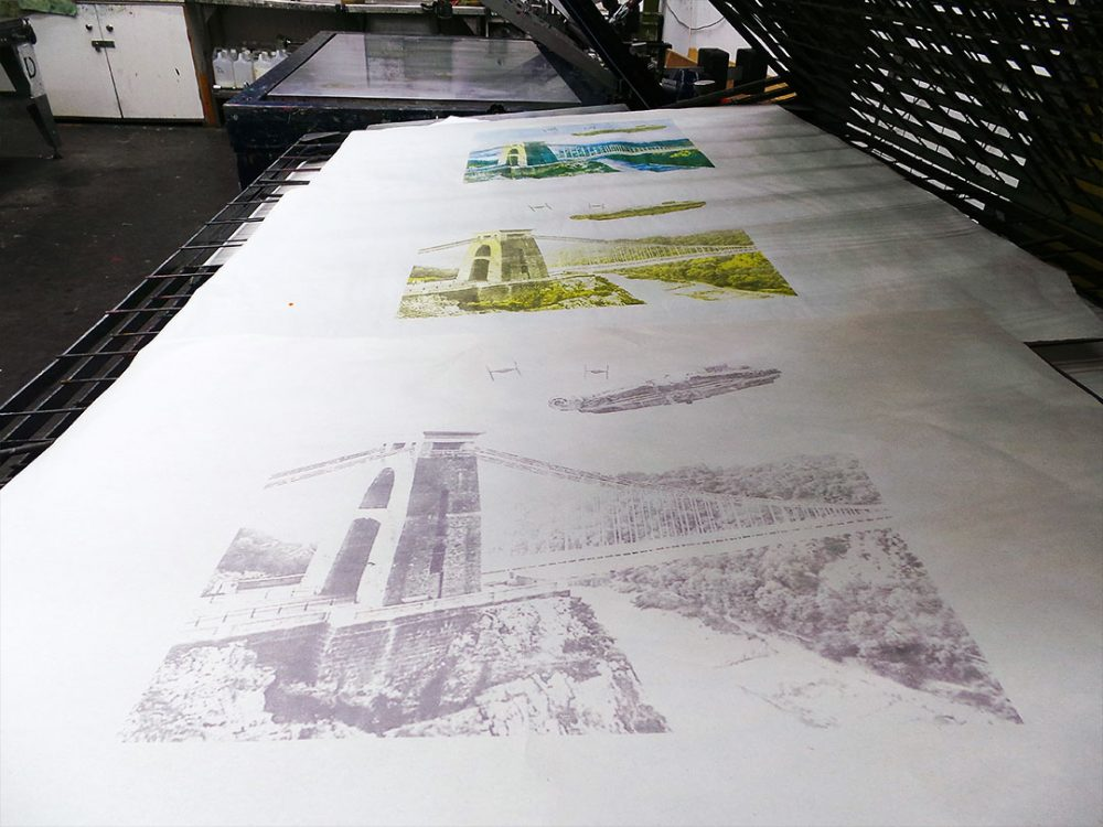 Star Wars vs Bristol - Millennium Falcon Dogfight Over Avon Gorge screen print separations