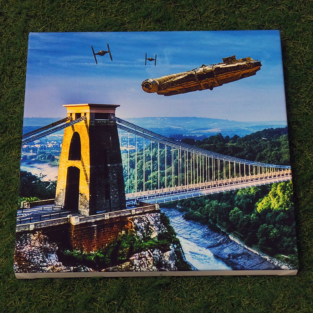 Millennium Falcon Over Suspension Bridge canvas print