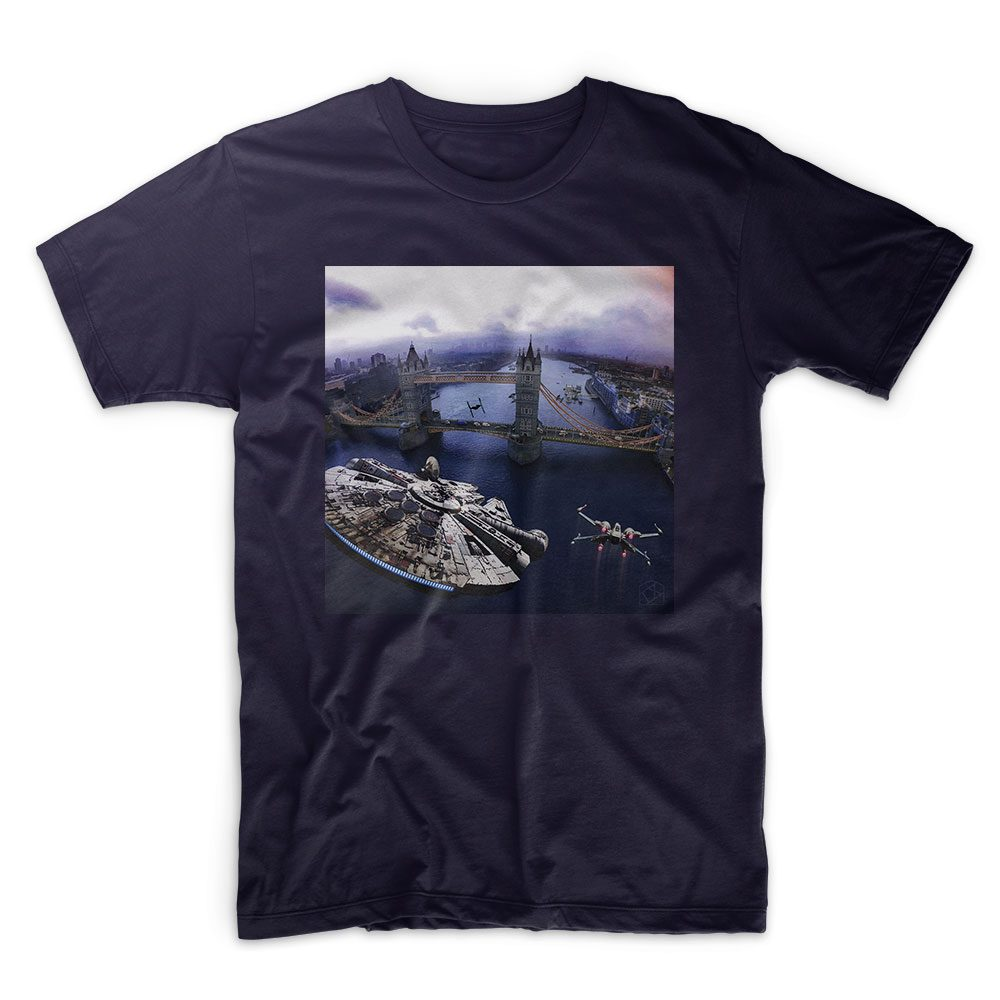 IX T Shirt - Star Wars - Incident at Tower Bridge - colour edition - Navy T shirt